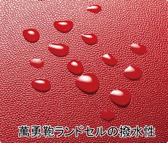 萬勇鞄ランドセルの天然皮革の撥水性