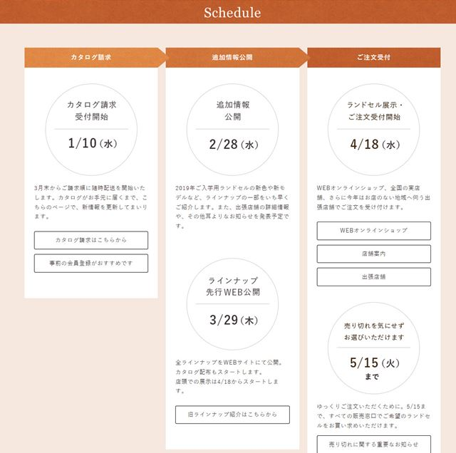 土屋鞄ランドセル2019カタログ&展示会&販売開始情報2