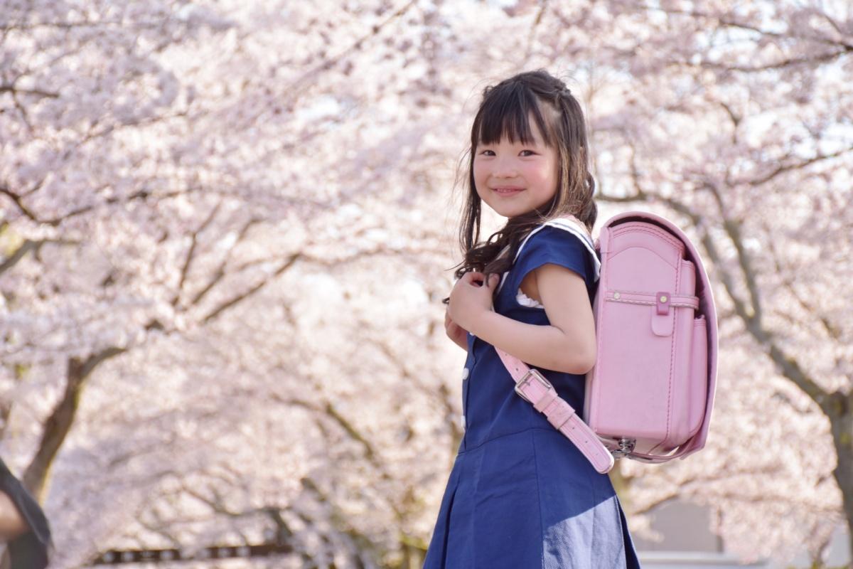 ピンク色のランドセルを背負った小学1年生の女の子