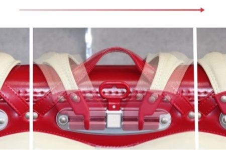 横山ランドセルのスライドフィット背カンは成長に合わせて、8段階に横方向にスライド調整可能。