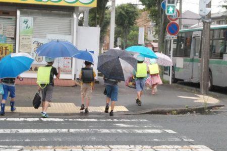 横断歩道を渡る登下校中の小学生たち